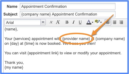 Add Providers Name to Email Templates – Confirmation Email Template