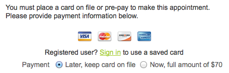 Collecting a credit card number or payment in online scheduler