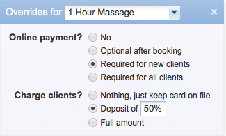 Advanced options for requiring payment at time of booking